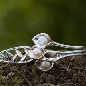 Bracelet en argent 925 type bangle Perle