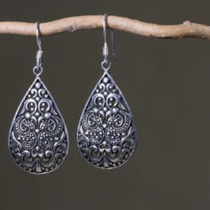Boucles d'oreilles ethnique en argent 925 Taille : 5 cm