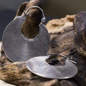 Boucles d'oreilles ethnique en argent 925 Taille : 4 cm