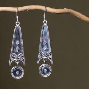 Boucles d'oreilles ethnique en argent 925 Taille : 6 cm