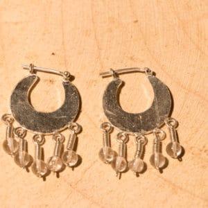 Boucle d'oreille en argent 925, Pierre Cristal de roche