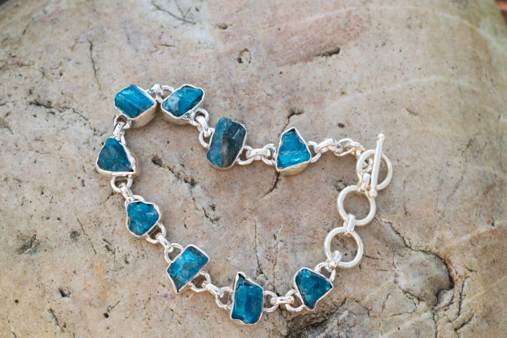 Bracelet en argent 925 Pierre Apatite Bleue