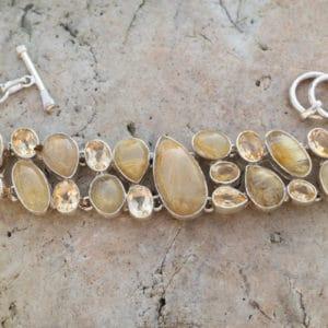 Bracelet en argent 925 Pierre Citrine Quartz Rutile