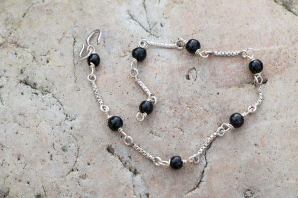 Bracelet en argent 925 Pierre Onyx