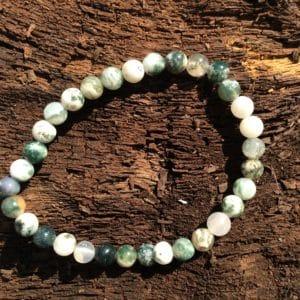 Bracelet en pierre agate mousse